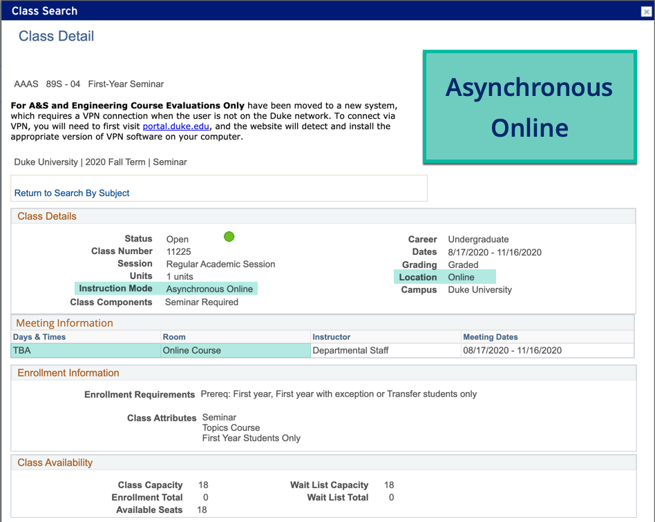 Example of Asynchronous Online Class