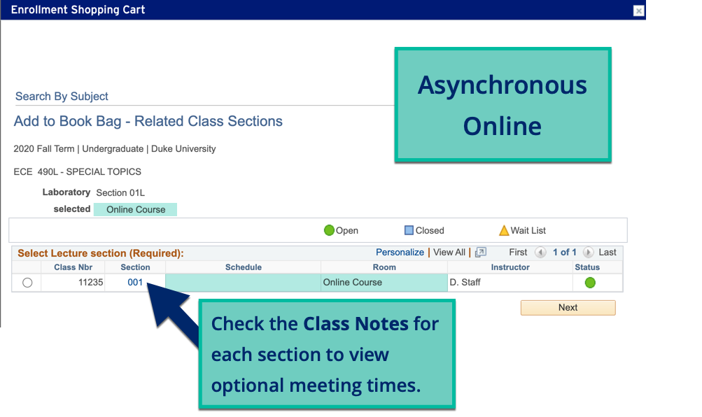 Example of Asynchronous Online